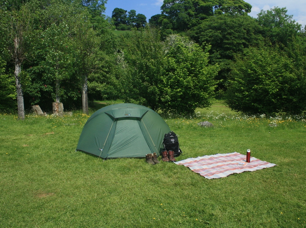 Hikersu0027 tent on a traditional grass c&ing pitch at Tyn Cornel & Camping for Tents in Snowdonia - Tyn Cornel Camping